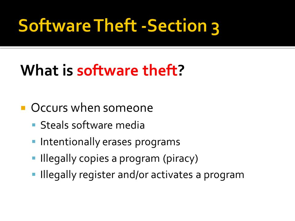 Software Theft -Section 3