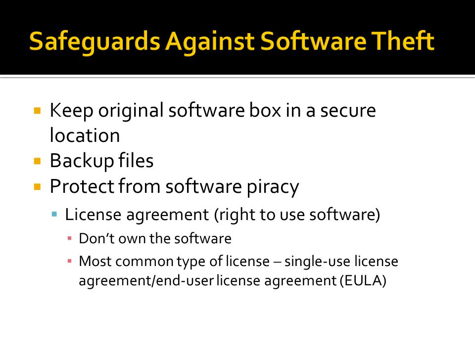 Safeguards Against Software Theft