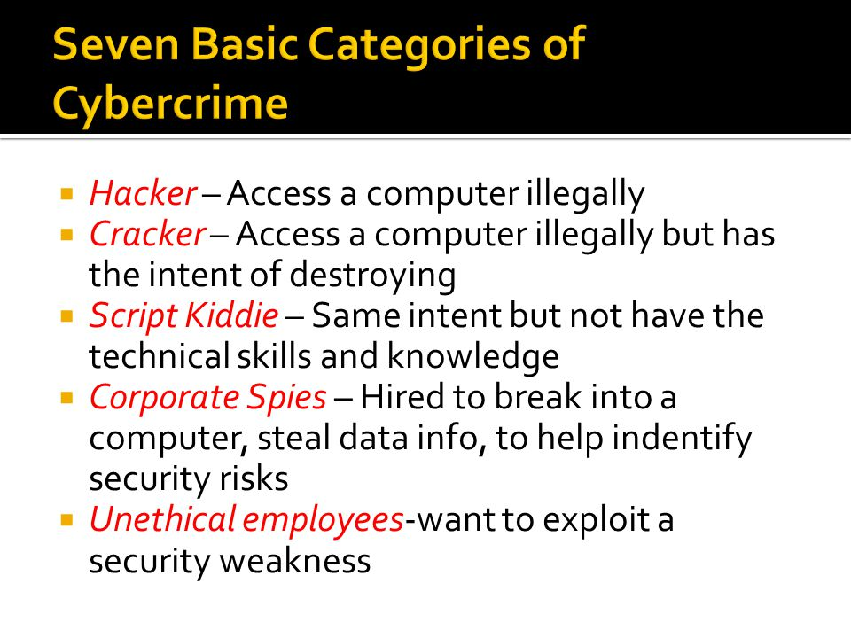 Seven Basic Categories of Cybercrime