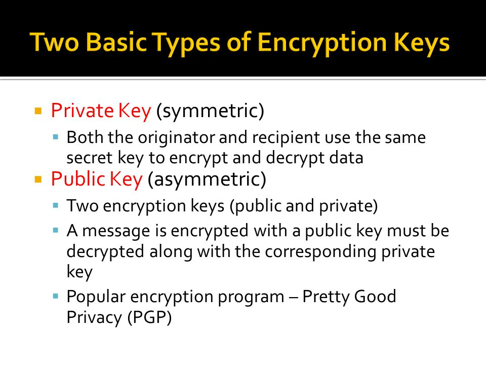 Two Basic Types of Encryption Keys