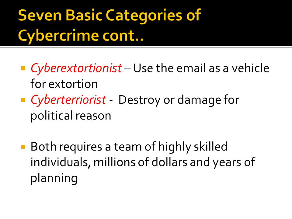Seven Basic Categories of Cybercrime cont..