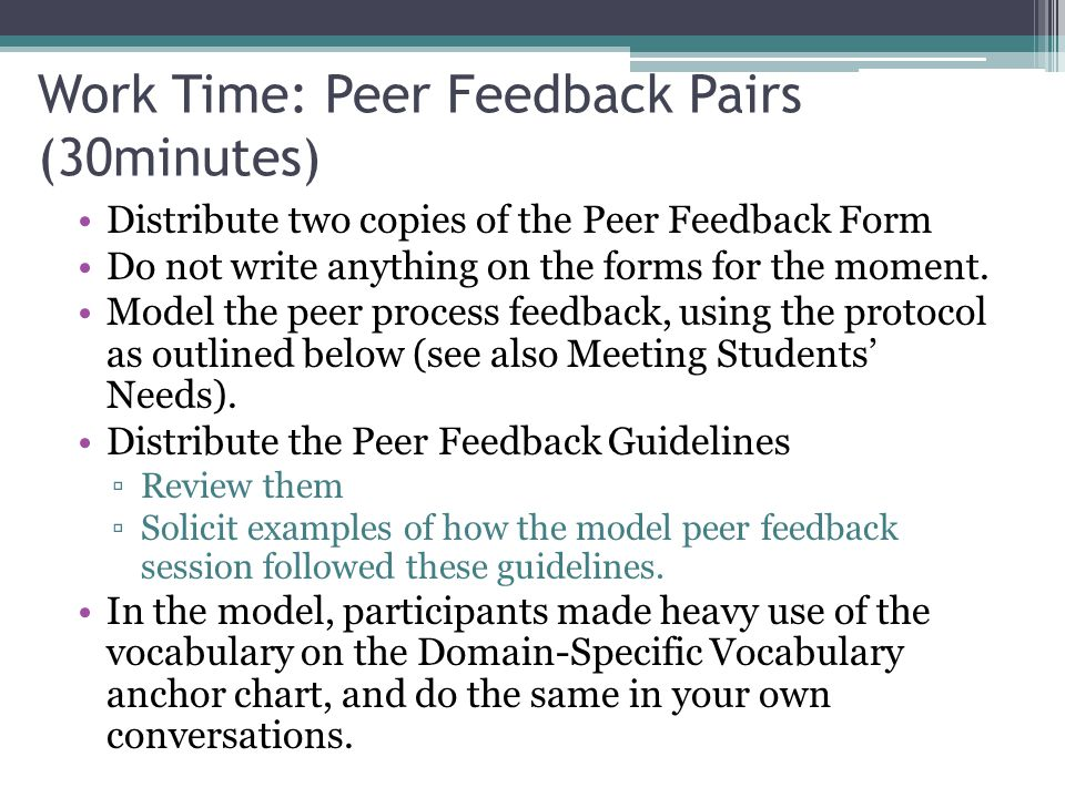 Scaffolding For Position Paper Peer Feedback And Citing Sources