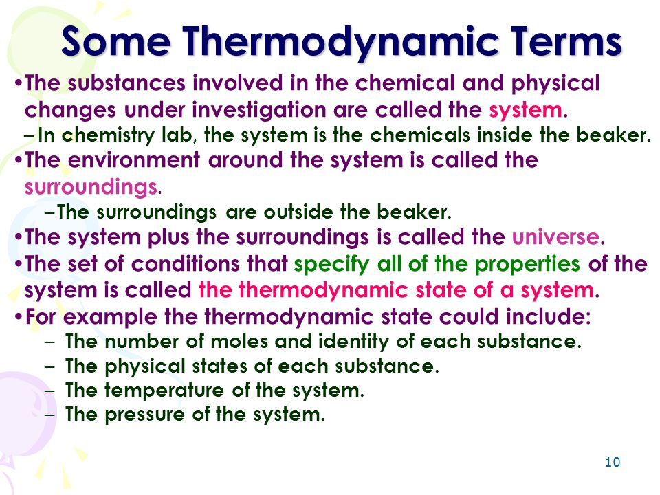 Some Thermodynamic Terms