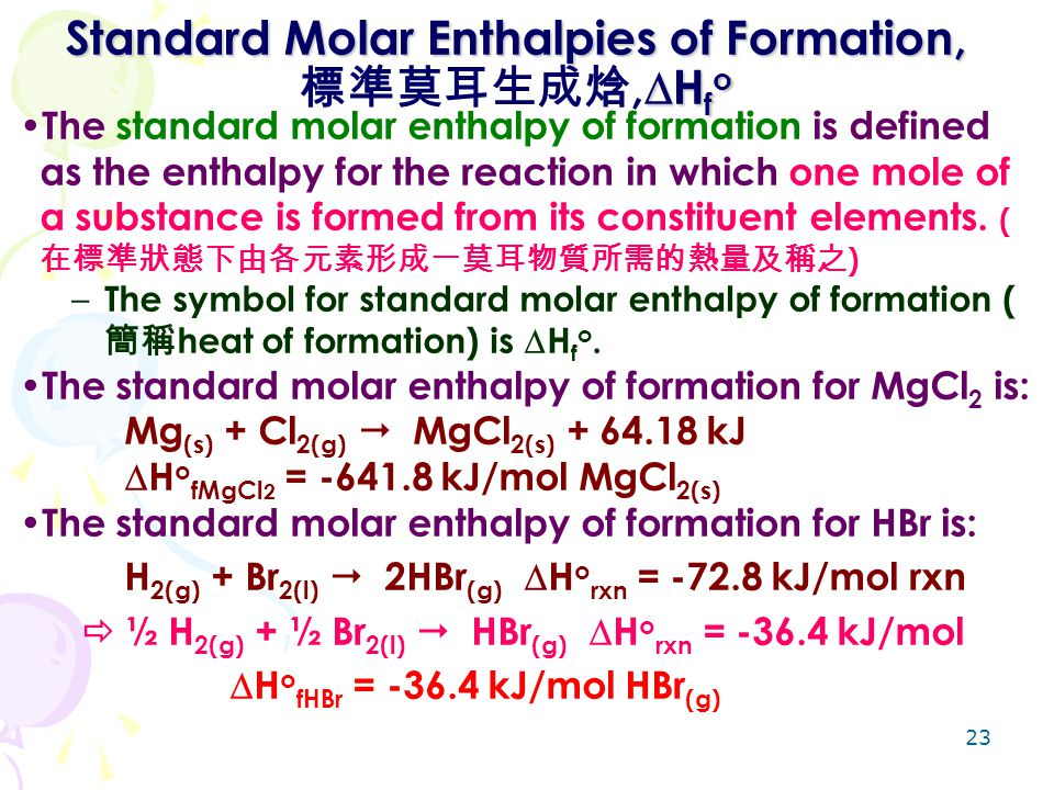 Standard Molar Enthalpies of Formation,標準莫耳生成焓,Hfo