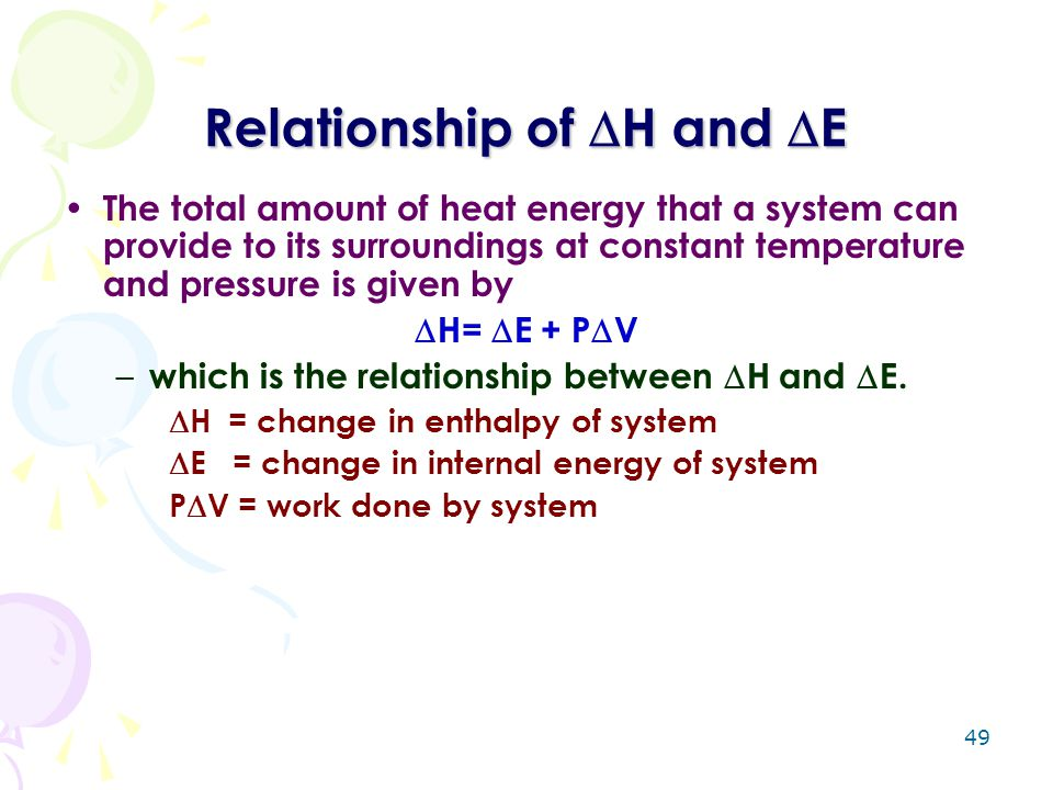 Relationship of H and E