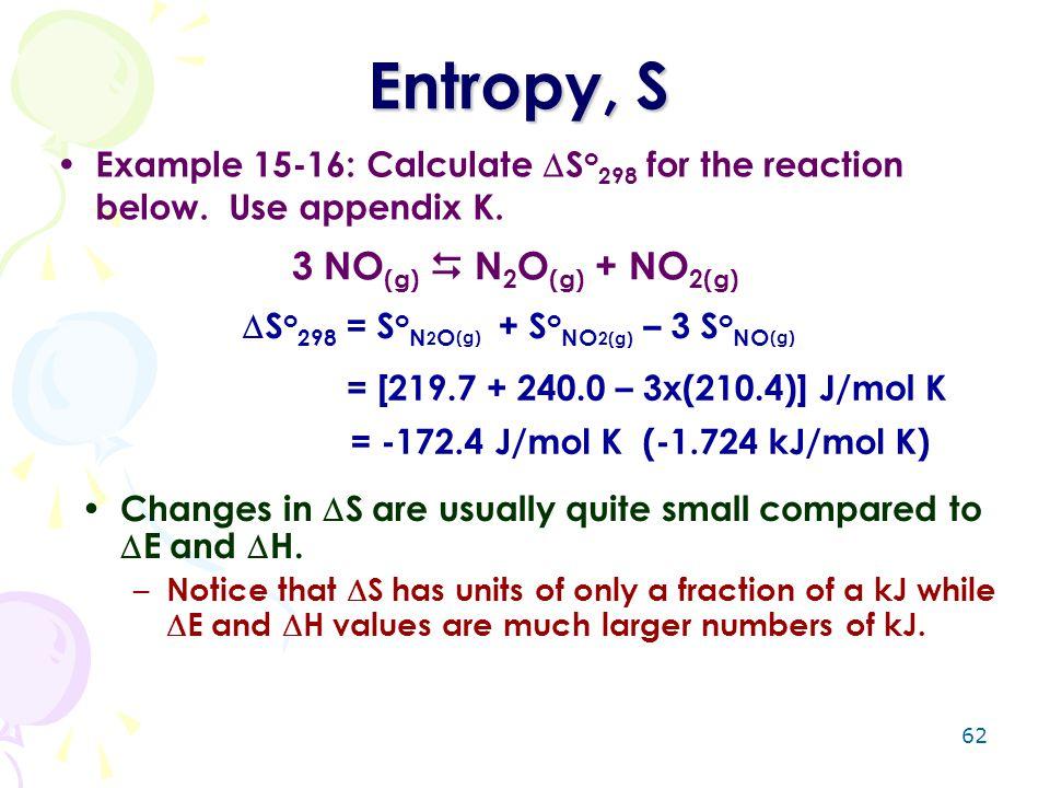 Entropy, S 3 NO(g)  N2O(g) + NO2(g)