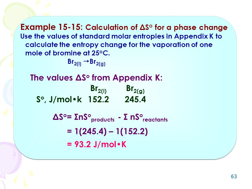 Example 15-15: Calculation of ΔSo for a phase change