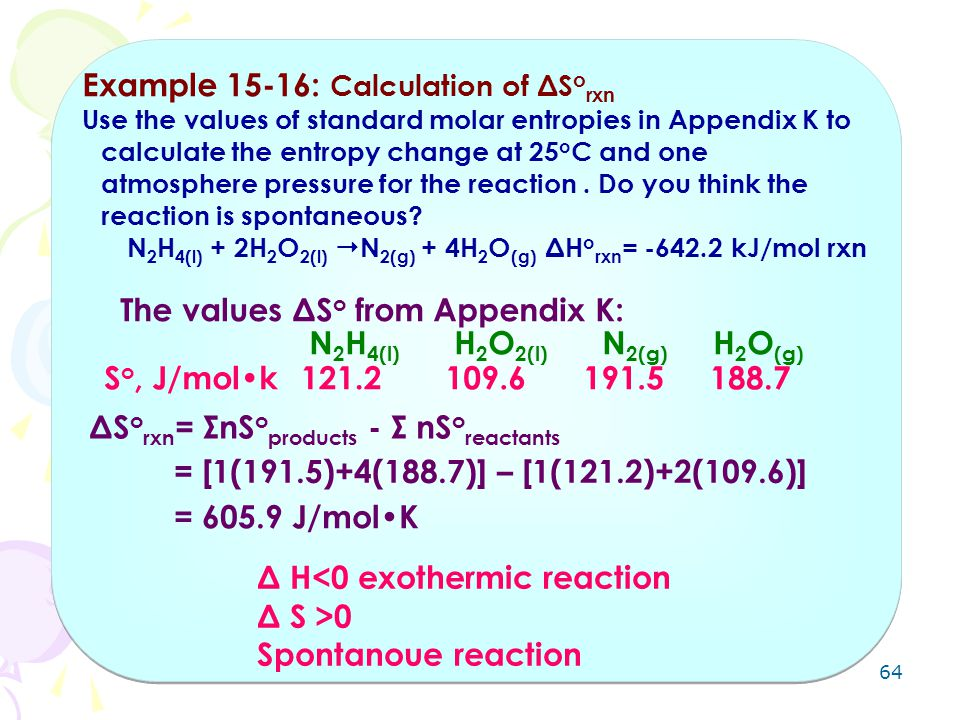 Example 15-16: Calculation of ΔSorxn
