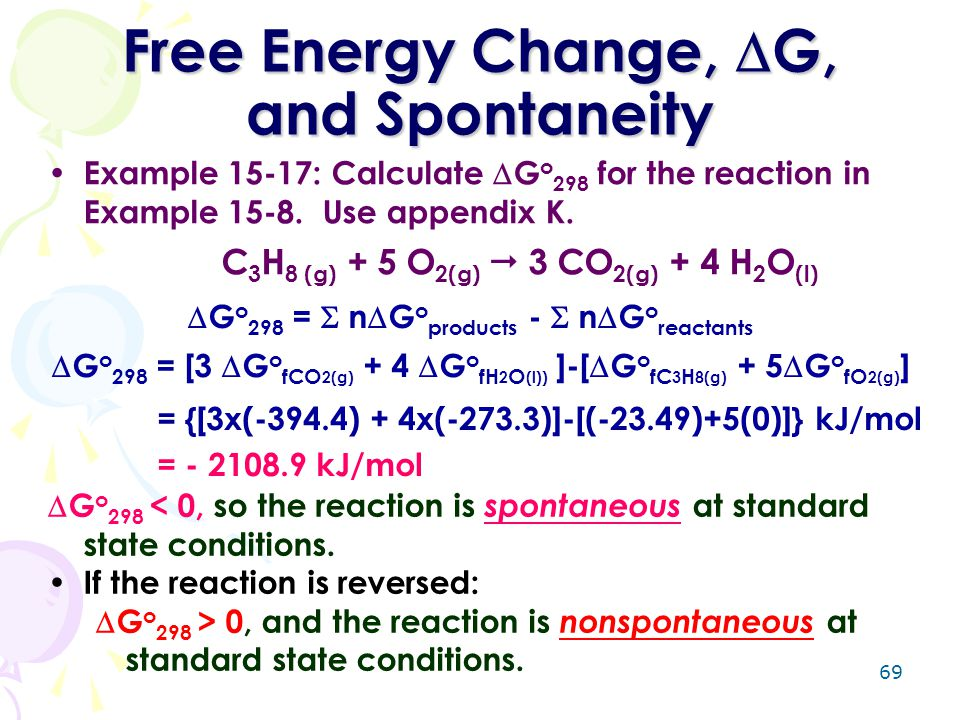 Free Energy Change, G, and Spontaneity