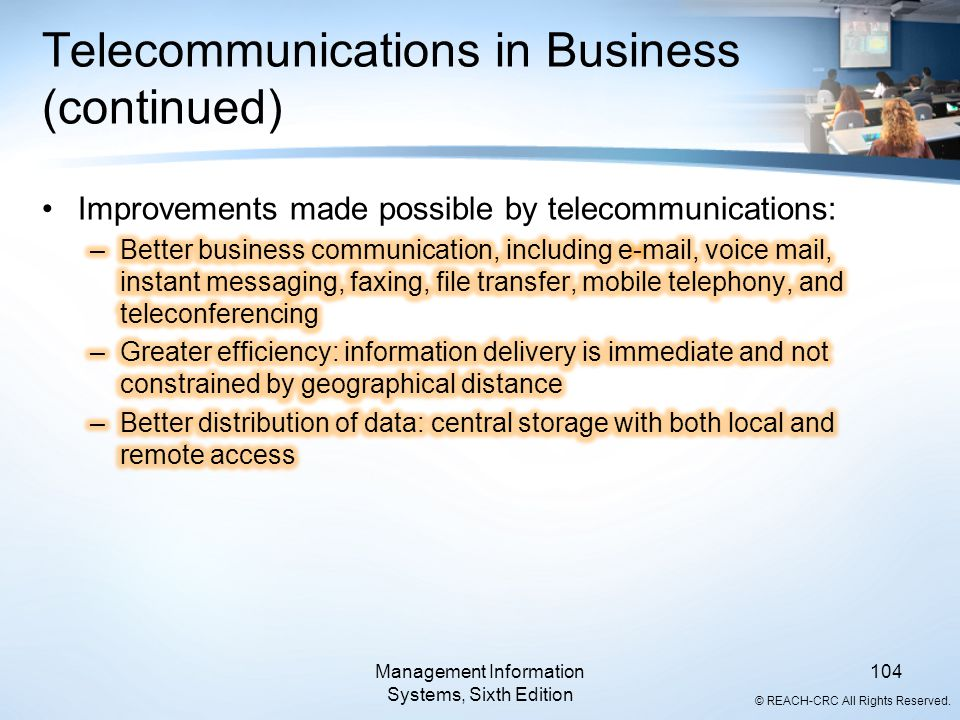 Telecommunications in Business (continued)