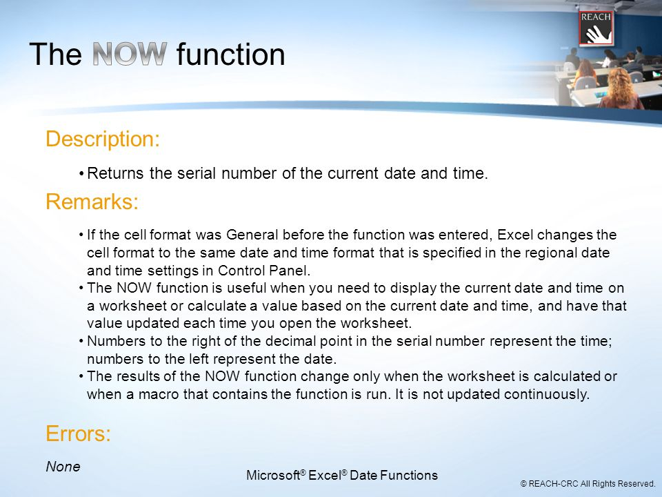 Microsoft® Excel® Date Functions