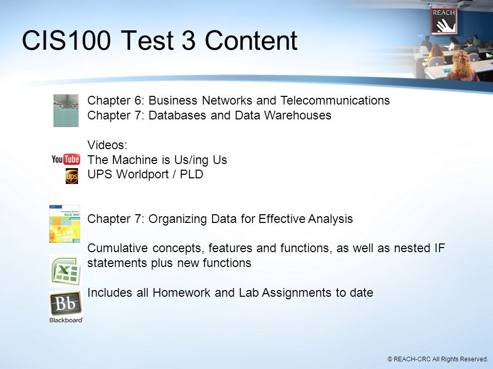 CIS100 Test 3 Content Chapter 6: Business Networks and Telecommunications. Chapter 7: Databases and Data Warehouses.