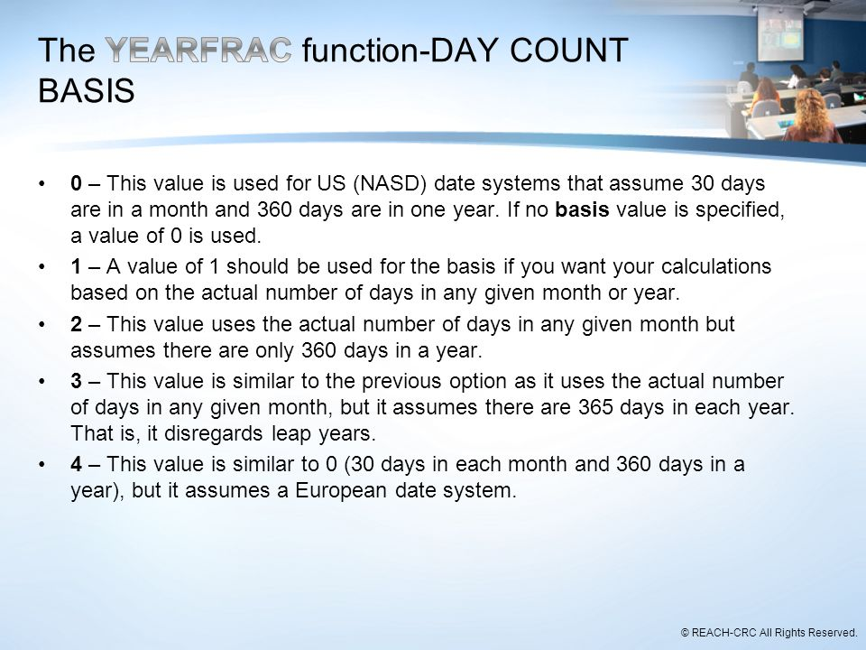 The YEARFRAC function-DAY COUNT BASIS