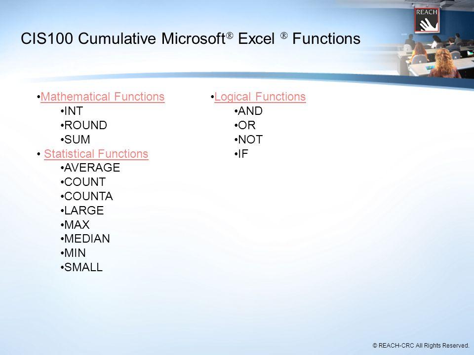 CIS100 Cumulative Microsoft Excel  Functions