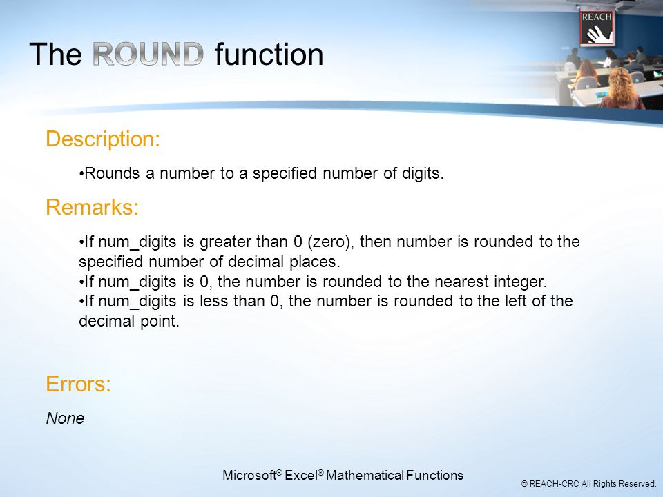 Microsoft® Excel® Mathematical Functions