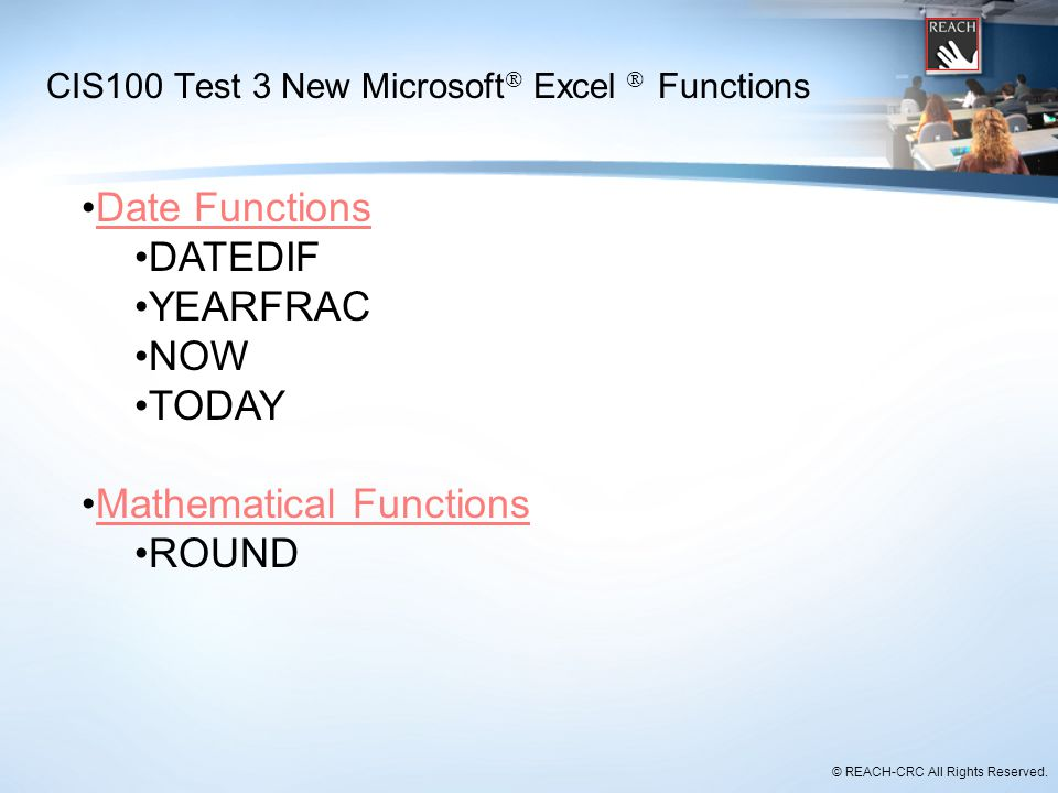 CIS100 Test 3 New Microsoft Excel  Functions
