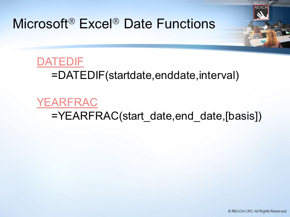 Microsoft Excel Date Functions