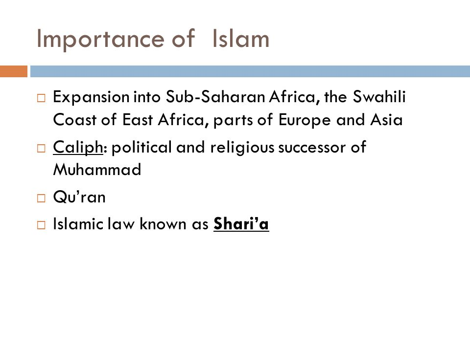 Importance of Islam Expansion into Sub-Saharan Africa, the Swahili Coast of East Africa, parts of Europe and Asia.