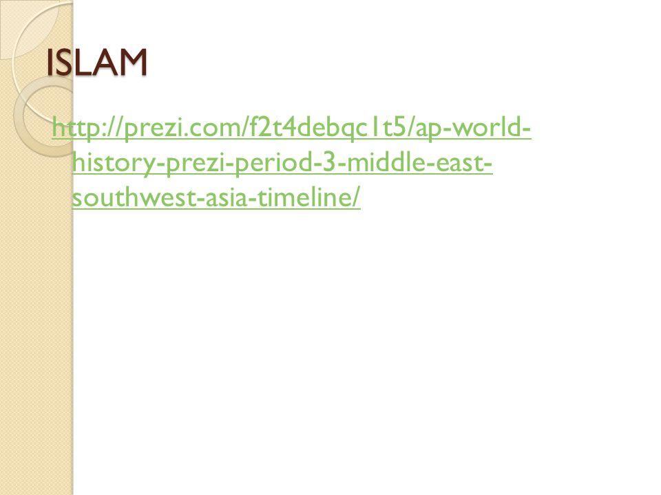ISLAM http://prezi.com/f2t4debqc1t5/ap-world- history-prezi-period-3-middle-east- southwest-asia-timeline/