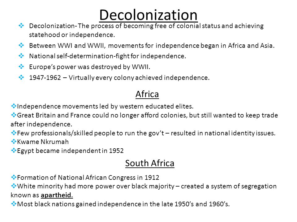 Decolonization Africa South Africa
