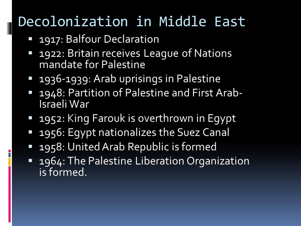 Decolonization in Middle East