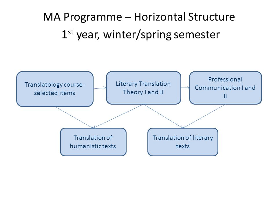 MA Programme – Horizontal Structure 1st year, winter/spring semester