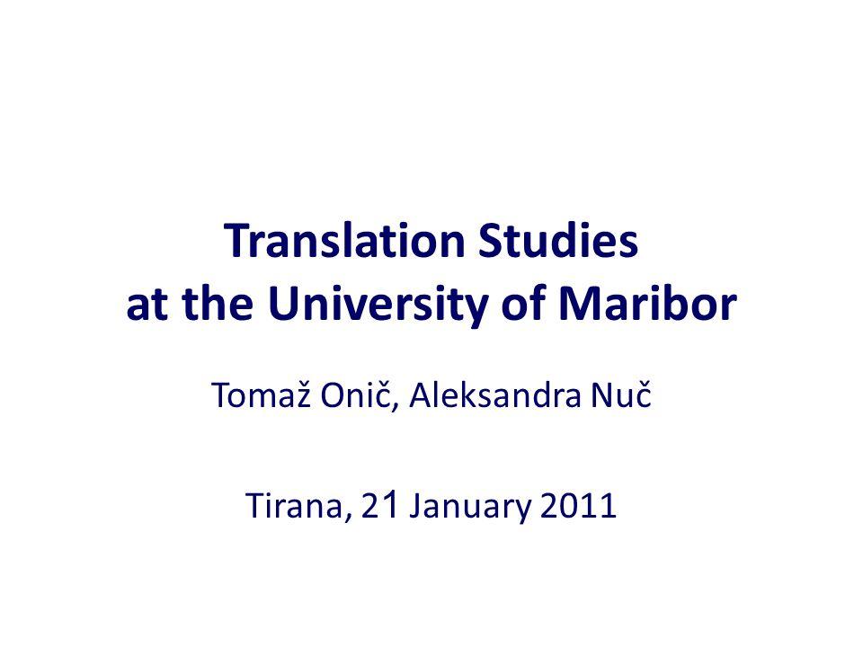 Translation Studies at the University of Maribor
