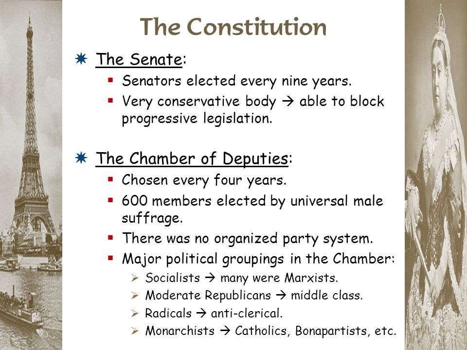 The Constitution The Senate: The Chamber of Deputies: