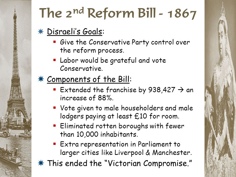 The 2nd Reform Bill - 1867 Disraeli's Goals: Components of the Bill:
