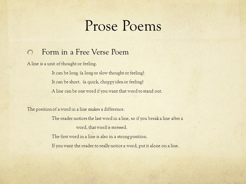 Prose Poems Form in a Free Verse Poem