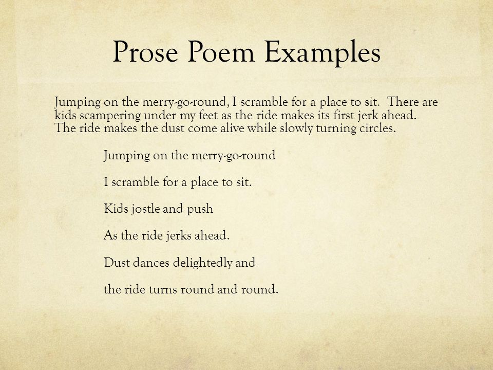 Prose Poem Examples