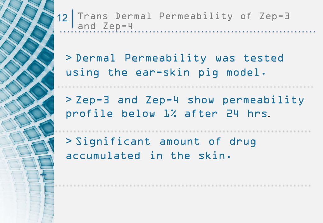 Trans Dermal Permeability of Zep-3 and Zep-4