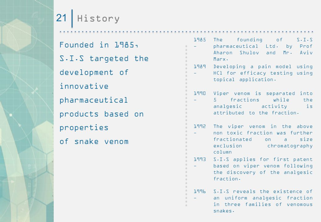 21 History. Founded in 1985, S.I.S targeted the development of innovative pharmaceutical products based on properties.