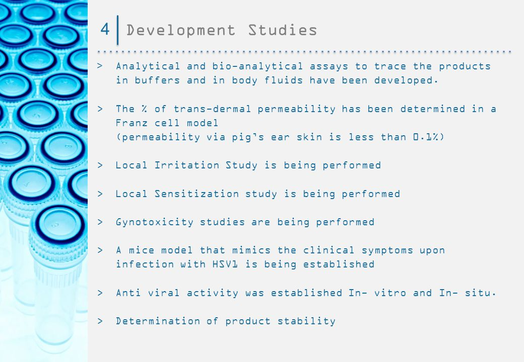 4 Development Studies. > Analytical and bio-analytical assays to trace the products in buffers and in body fluids have been developed.