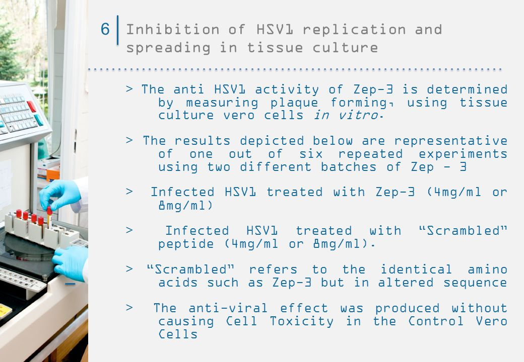 Inhibition of HSV1 replication and spreading in tissue culture