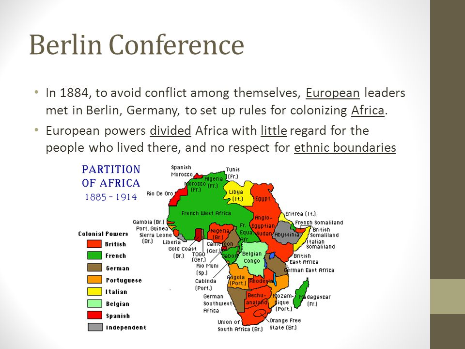 Berlin Conference In 1884, to avoid conflict among themselves, European leaders met in Berlin, Germany, to set up rules for colonizing Africa.