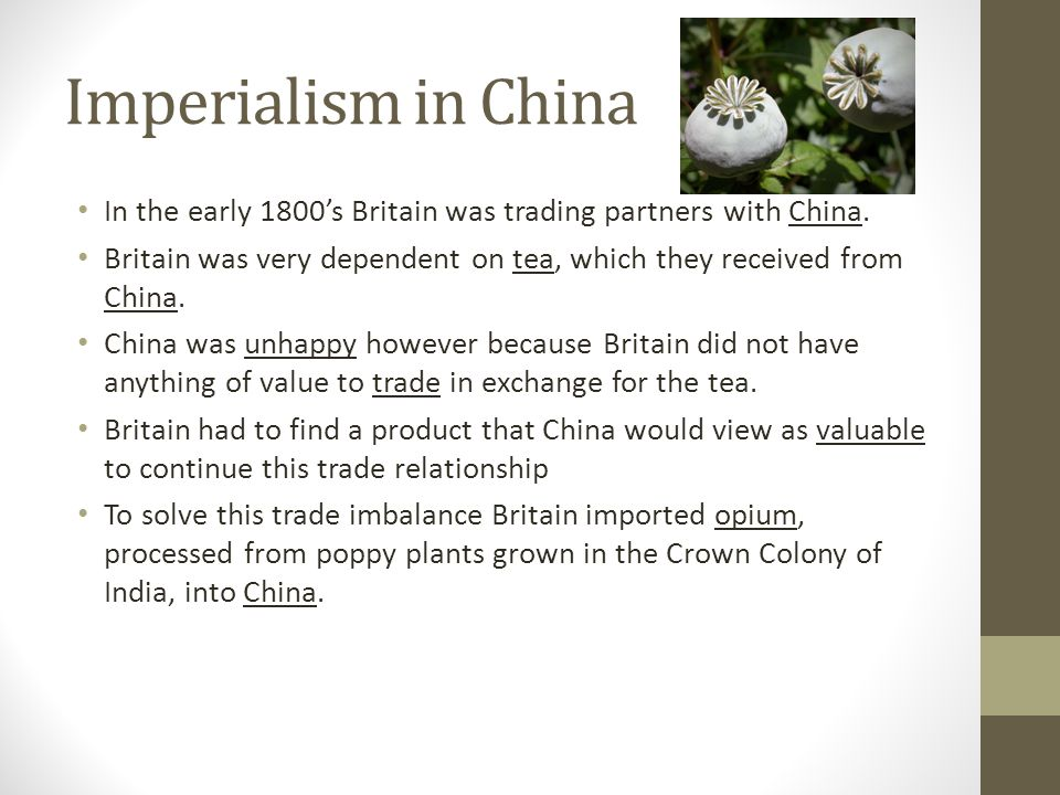 Imperialism in China In the early 1800's Britain was trading partners with China. Britain was very dependent on tea, which they received from China.