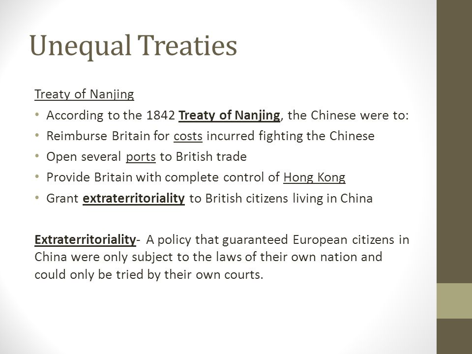 Unequal Treaties Treaty of Nanjing