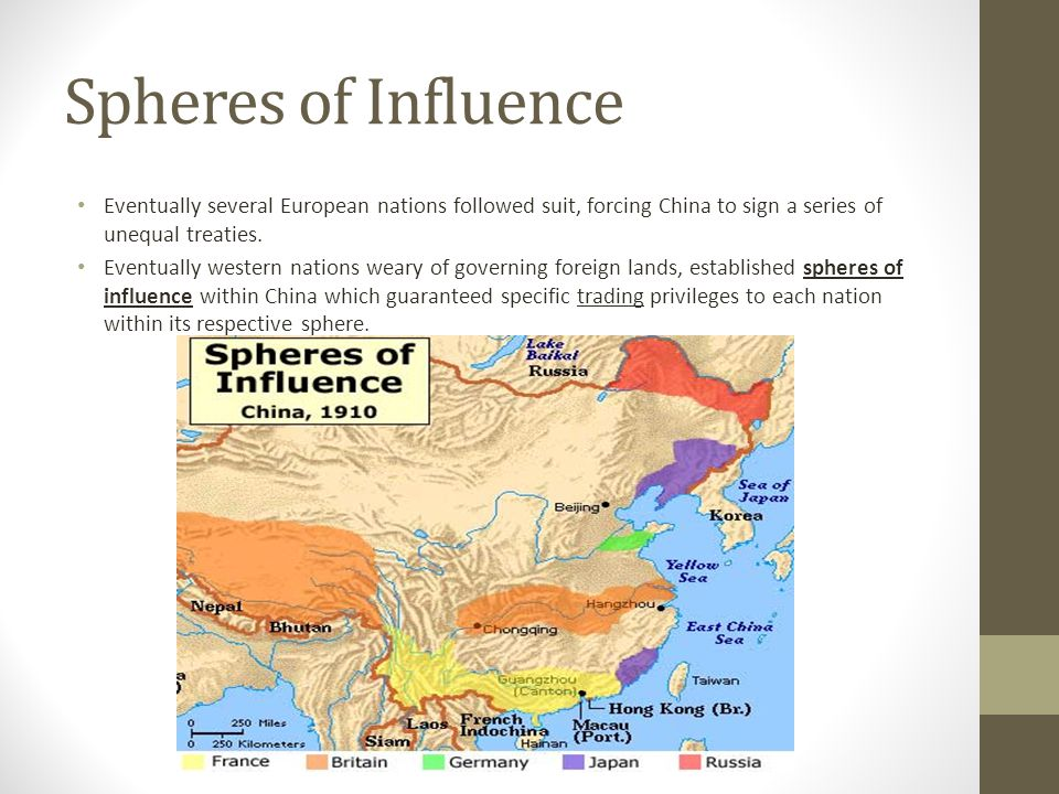 Spheres of Influence Eventually several European nations followed suit, forcing China to sign a series of unequal treaties.