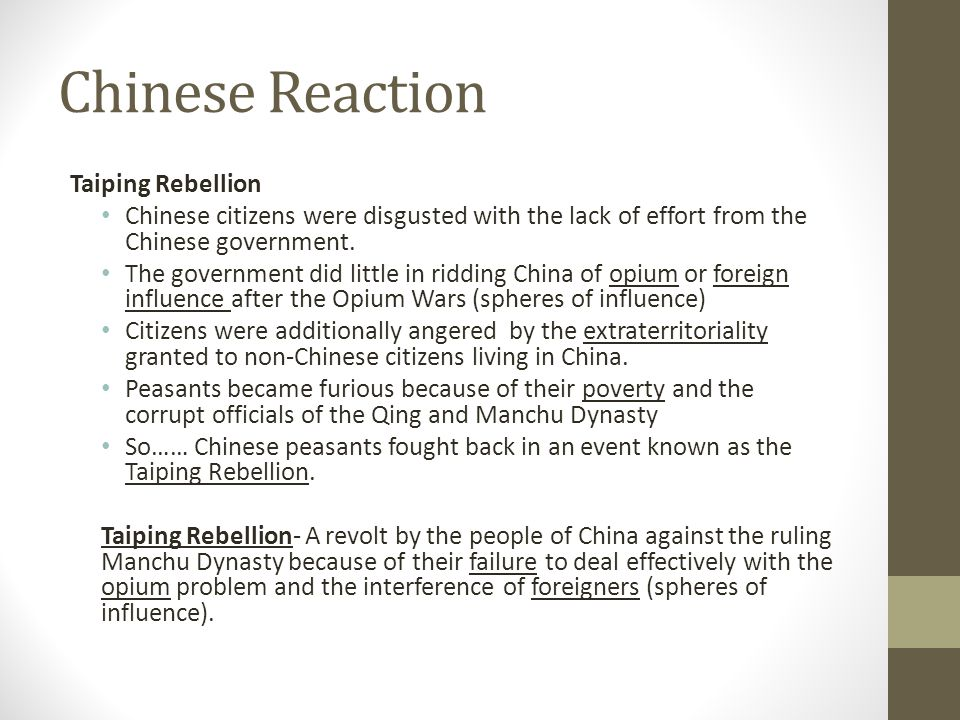 Chinese Reaction Taiping Rebellion