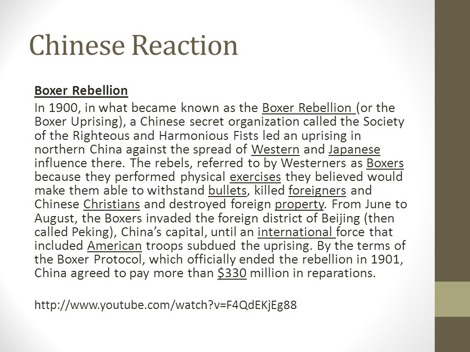 Chinese Reaction Boxer Rebellion