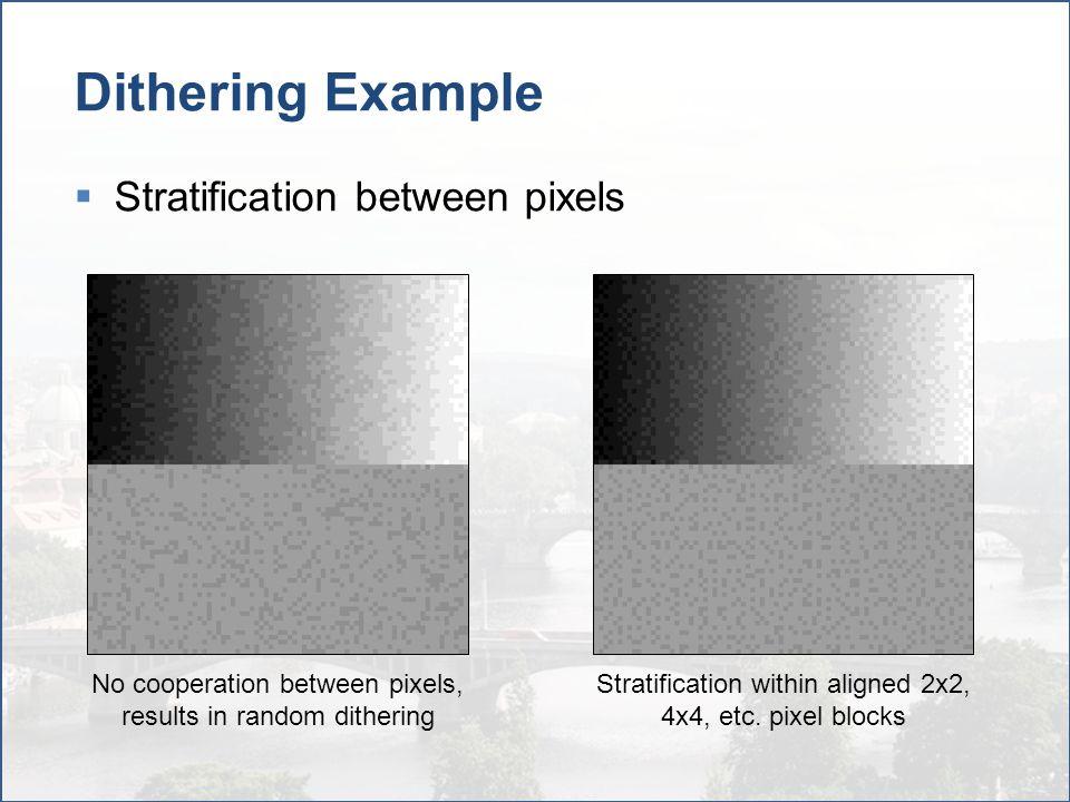 Dithering Example Stratification between pixels