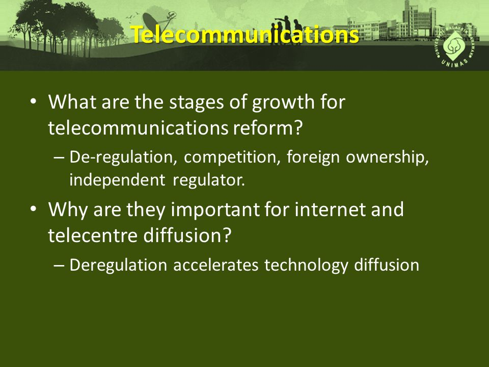 Telecommunications What are the stages of growth for telecommunications reform