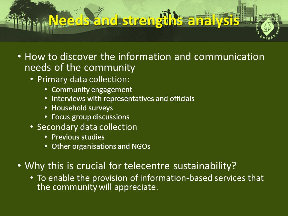 Needs and strengths analysis