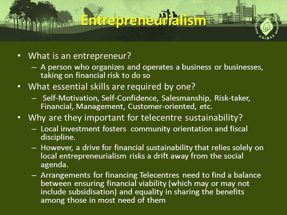 Entrepreneurialism What is an entrepreneur