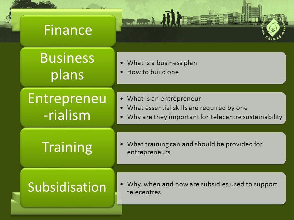 Finance Business plans Entrepreneu-rialism Training Subsidisation
