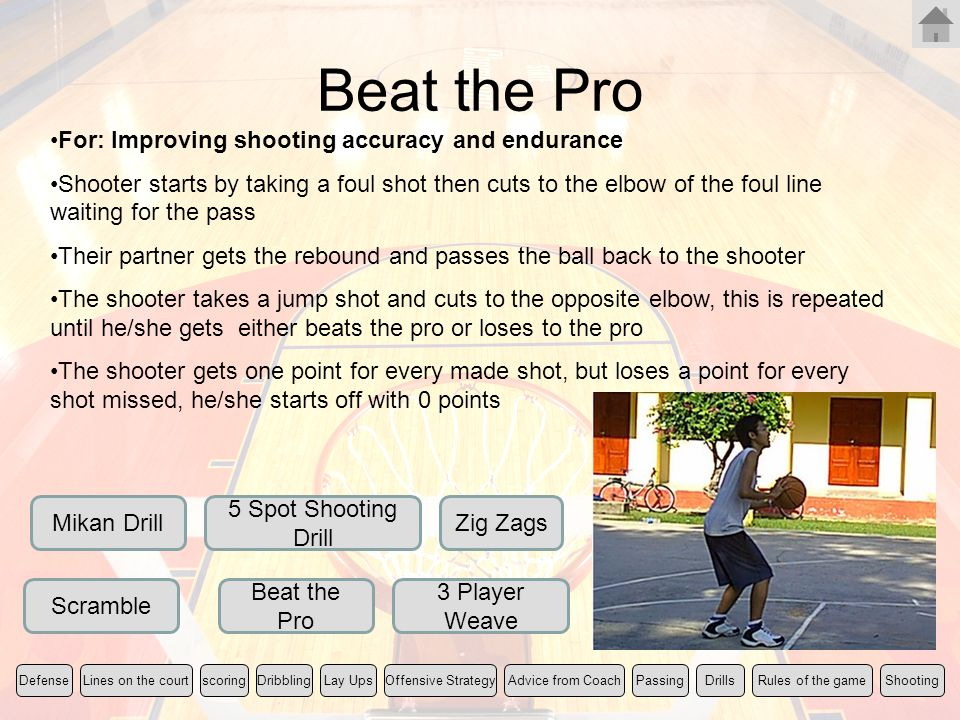 Beat the Pro For: Improving shooting accuracy and endurance