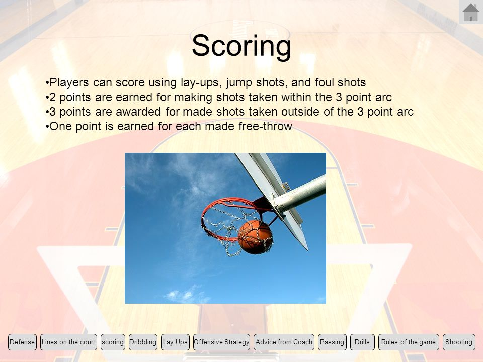 Scoring Players can score using lay-ups, jump shots, and foul shots