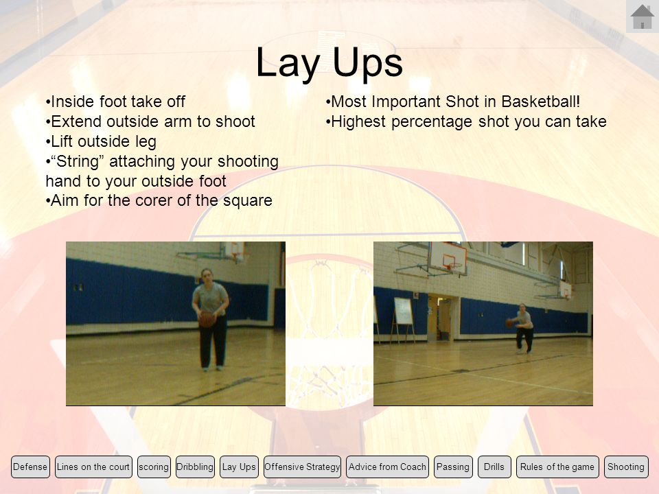 Lay Ups Inside foot take off Extend outside arm to shoot