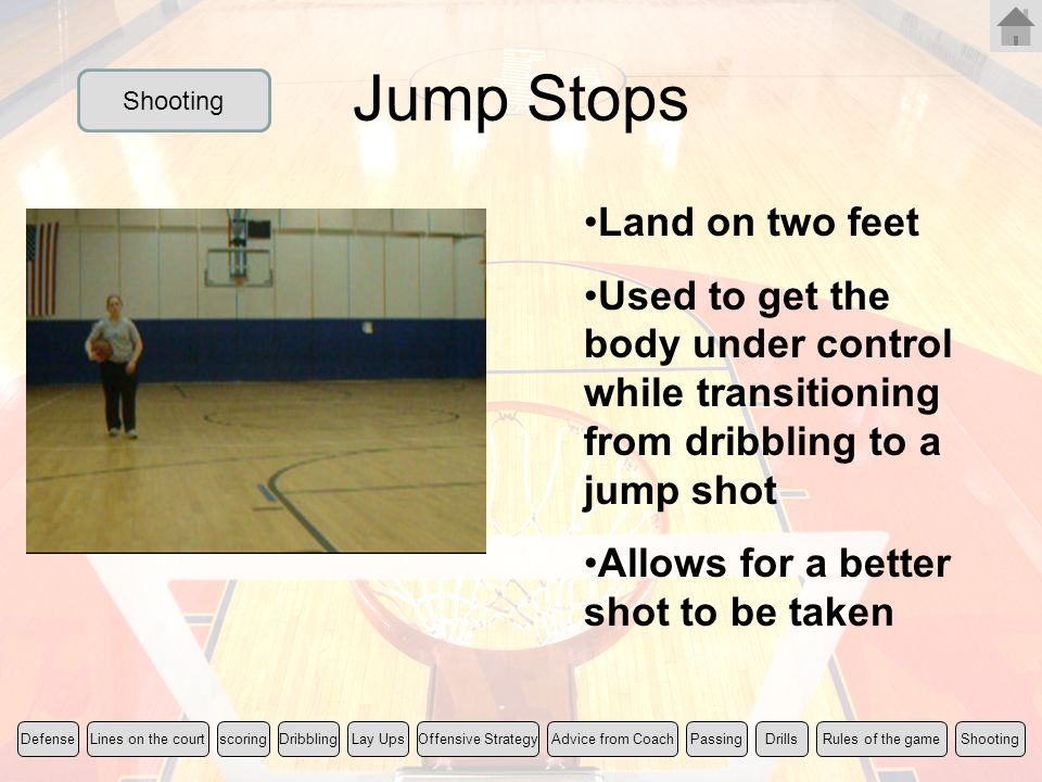 Jump Stops Land on two feet